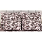 """Linenwalas Premium Italian Damask Design Yarn Dyed Leaf Print 2 Piece Cotton Pillow Cover Set - 17""""x27"""", Brown And White"""