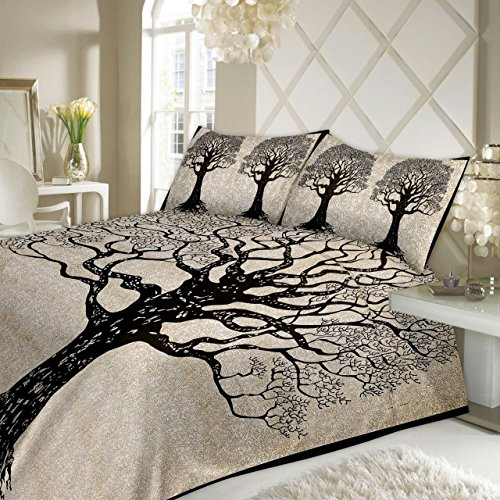 TheUrbanStreet Rich Black Tree of Life Cotton Bedsheets Double King Size With...