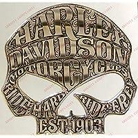 Escudo Logo Decal Harley Davidson, Skull Willie G, Adhesivo, Resina Efecto 3D. para depósito o Casco.) Color Plata