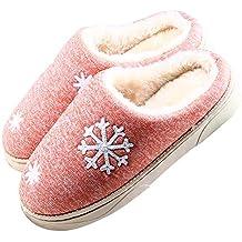 JACKSHIBO Damen Herren Plüsch Baumwolle Pantoffeln Weiche Leicht Wärme Hausschuhe Rutschfeste Slippers für Unisex