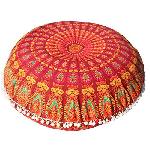 (OYSOHE Bohemian Meditation Kissenbezug Große Mandala Boden Kissen Runde Ottoman Hocker Bezüge,80 * 80cm)