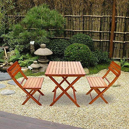 Balcony Patio Folding Table Chairs Wooden Furniture Set (Brown)