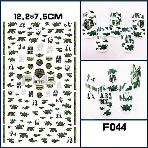 HUYDLD Nagelaufkleber 1 Stücke Blumen Rosen Beliebte Print Navy Anker Armee Camo Nail art 3D Tipps Aufkleber Nagel Aufkleber Maniküre -