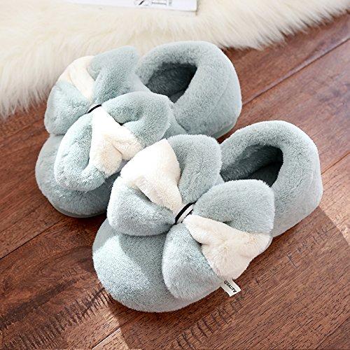 DogHaccd pantofole,In inverno il cotone pantofole donna bella calda spessa coperta pacchetto con uomini antiscivolo scarpe coppie autunno e inverno Grigio e verde4