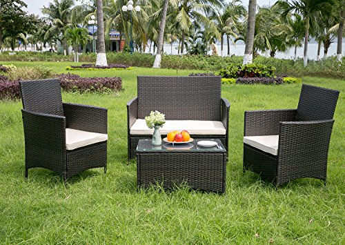 LIFE CARVER Rattan Garden Furniture sets patio furniture set garden furniture clearance sale furniture rattan garden furniture set table chairs sofa patio conservatory wicker (Brown 1)