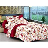 Ahmedabad Cotton Comfort 160 TC Cotton Single Bedsheet with 1 Pillow Cover - Floral, Maroon