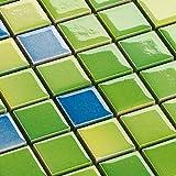 Keramik Mosaik Fliesen Grün Mix Glänzend 6 mm