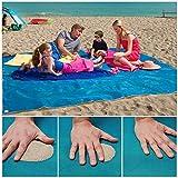 Aitsite Wasserdichte Sand Free Beach Mat strandmatte sandfrei Picknickdecken Strand Matte Strand Decke Sand Beweis Camping Outdoor Picknick Große Matratze Blau 200cm x 200c