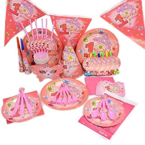 My Little Princess-Geburtstag Hochzeit Party Dekoration Geschirr Cartoon 16Pack Kit by trimmen Shop (Pink) (Disney Mickey Mouse Scene Setter Dekoration Set)