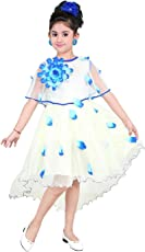 YAYAVAR Girls Net Made Off White & Sky Blue Colored Casual/Party Wear Frock for Girls - Set of 01 from 02-08 Years