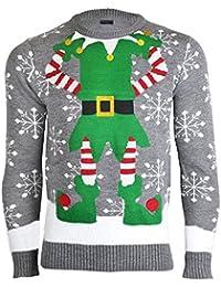 Noroze Hombres Mujeres Unisexo Prima Novedad De Punto Christmas Navidad Suéter Duende Jumpers