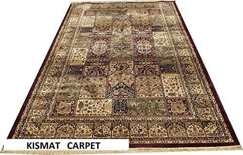 Kismat Carpet Traditional New Kashmiri Silk with Superior Quality Carpet for Living Room and Bedroom -Maroon Color (180X270Cm) 6 Feet by 9 Feet Carpet at amazon