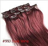Clip In Echthaar Extensions 100% Remy 99 # Dark Rot Wein Burgund 50,8 cm 7 Tressen 70 g(Raten zu kaufen 2–5 sets) (99J#)