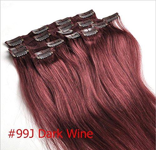 Wein-clip (Clip In Echthaar Extensions 100% Remy 99 # Dark Rot Wein Burgund 50,8 cm 7 Tressen 70 g(Raten zu kaufen 2–5 sets) (99J#))
