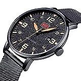 Uhren Herren mode Wasserdichte Uhr Ultradünne Edelstahl Analog Quarz Uhren Datum mit Datum Schwarz Mesh Band
