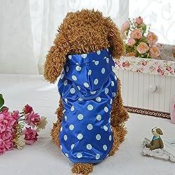 GFULLOV Pet Hund Farbe Wave Point Jacke Puppy Wasserdicht Pet Blau und Weiß Polyester Kleidung für Hund Haustier Hund Wasserdicht Wasserdicht Hoodie Colorful Wave Point Hunde Regenmantel