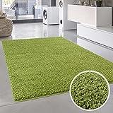 Shaggy-Teppich, Flauschiger Hochflor Wohn-Teppich, Einfarbig/Uni in Grün für Wohnzimmer, Schlafzimmmer, Kinderzimmer, Esszimmer, Größe: 133 x 190 cm
