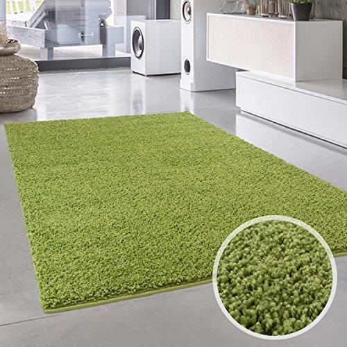 Shaggy-Teppich, Flauschiger Hochflor Wohn-Teppich, Einfarbig/Uni in Grün für Wohnzimmer, Schlafzimmmer, Kinderzimmer, Esszimmer, Größe: Läufer 80 x 300 cm