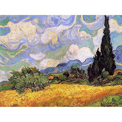 Wee Blue Coo LTD Vincent Van Gogh Wheat Field with Cypresses 1889 Painting Art Print Poster Wall Decor Kunstdruck Poster Wand-Dekor-12X16 Zoll