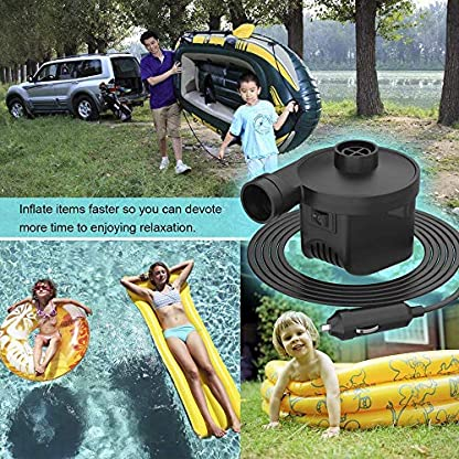 KERUITA Air Pump, Air Mattress Pump for Inflatable Blow up Pool Raft Bed Boat Toy Exercise Ball, 110V AC/12V DC Quick-Fill AC/DC Inflator&Deflator with 3 Nozzles (ACDC) 6