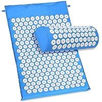 Guisee Esterilla Acupresion Kit con Almohda y Bolsa para Acupuntura y Moxibustión Yoga / 6210 Puntos de acu Presión Para Estimular y Mejorar Circulación (Azul)