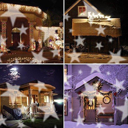 Lucky Goddess Lichter des Weihnachtstraumlandschaft-Sternprojektor Stern/Schneeflocken Geburtstagskarte weiß