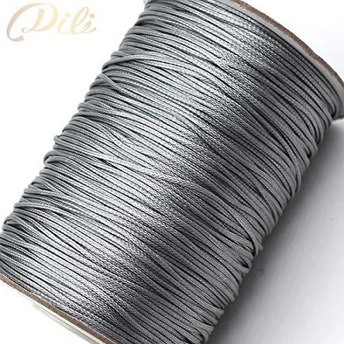 HYZKJ Seil 1Mm Gewachste Baumwollkordel Gewachst Faden Schnur Schnurriemen Halskette Seil DIY Schmuckherstellung,Grau