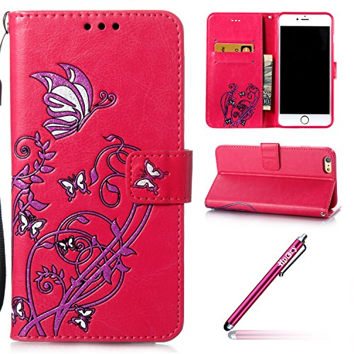 iPhone 6/6S Leather Case,iPhone 6/6S Coque Portefeuille,Hpory élégant Fashion 3D Design Colorful Painted with Lanyard PU Cuir Case Book Style Folio Stand Fonction Support PU Leather Walllet Case with  Rose rouge, Fleur
