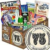 75. Geburtstagsgeschenke | Spezialitäten Korb | Geschenk Box | Ostpaket | 75 Geburtstag lustige Geschenke | mit Rotkäppchen Piccolo Sekt, Pfeffi Likör, Viba und mehr