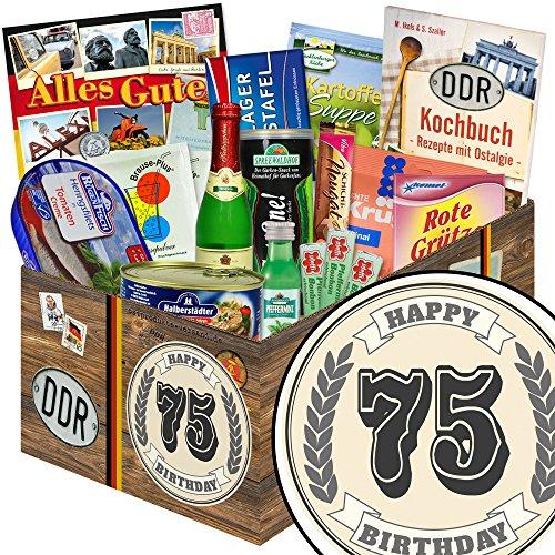 75 Geburtstag | Spezialitäten DDR Box | im klassischen Stil Aufkleber Zahl 75 | zum Geburtstag | schwarze Geschenkbox | mit Viba Nougat Stange, Pfeffi Likör, Rotkäppchen Piccolo