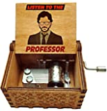 UspotUshop Wooden Collectible Engraved Money Heists - Bella Ciao Themed Music Box (Professor)