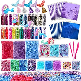 Cocoboo 72 Pcs Slime Making Supplies Kit Slime Add Ins Include Foam Balls, Fishbowl Beads, Glitter, Shells, Mermaid Slime Charms, Slime Tools for DIY