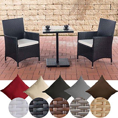 CLP Garten-Sitzgruppe PALERMO l Polyrattan Gartengarnitur mit Aluminiumgestell l Garten-Set: 2 Stühle und ein Tisch l In verschiedenen Farben erhältlich Schwarz, Bezugsfarbe: Cremeweiß