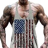 WEIMEITE Men USA Flag Canottiera Canotta Sport Canotta Allenamento Uomo Muscoli Bodybuilding Canotta Grigio L
