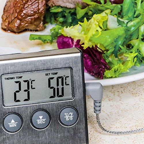Prochef Digital Grillthermometer für Gasgrill und Ofen von Edelstahl mit Langes Kabel. Profi Bratenthermometer für Fleisch mit Hitze und Zeit Alarm. 100% Geld-zurück-Garantie. - Chef-video
