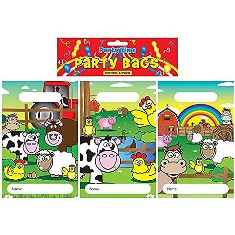 Buste Per Festa Animali Della Fattoria 15 X 22cm - CONFEZIONE DA 24