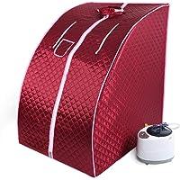 Cabine de Sauna Vapeur Sauna Maison Portable Mobile Hammam et Sauna,1000W (Rouge Profond)
