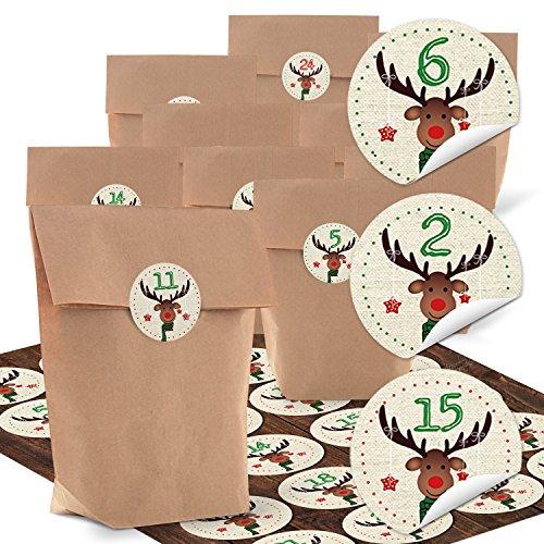 5.6 Block (Set 24 braune Papiertüten (14 x 22 x 5,6 cm) und 24 runde Aufkleber 4 cm