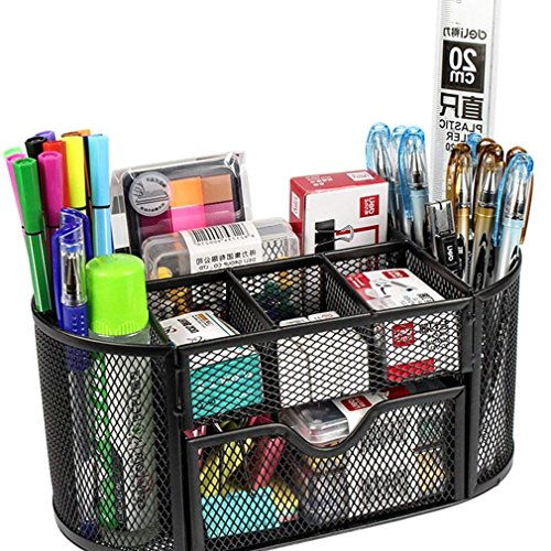 SUPO Metal Mesh Desk Organizer, Black Office Stationary and Study Table