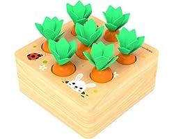 Felly Giocattoli Montessori Legno, Puzzle Legno Giochi per Bambini Carotina, Gioco Educativo per Bambina e Bambino di 1, 2 e