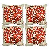 Luxbon 4X Rot Herz Jahreszeit Baum Dauerhaft Leinen Kissenbezug mit Reißverschluss Sofa Büro Dekokissen 45x45 cm