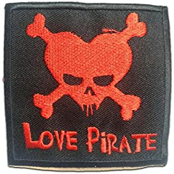 Parches - LOVE PIRATE - rojo - 7.9x8cm - by catch-the-patch termoadhesivos bordados aplique para ropa