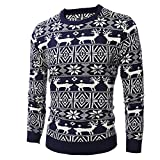 Celucke Weihnachtspullover Norweger Pullover Herren Strickpullover Feinstrick Winter Strickjacke Basic Rundhals Langarm Sweater