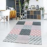 Teppich Flachflor Kurzflor Modern Karomuster Sterne Pastellfarbe Rosa Wohn-/Jugendzimmer Größe 160/230 cm