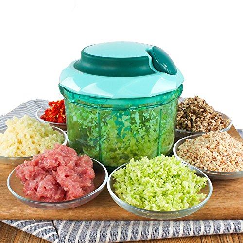 Istwahl Quick Pull Food Chopper de gros 900ml, plastique, vert, 14 x 13 x 13,5 cm