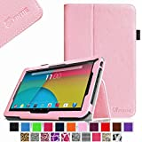 """Fintie Premium PU Leather Case Cover for 10.1-Inch Android Tablet PC inclu. PolaTab 10.1 Inch (Q10.1 / Elite Q10.1 / Elite Q10.2), Fusion5 10.1 Inch (FINITE4 / Xtra SPACE4 / Xtra POWER4), JYJ 10 Inch, Dragon Touch A1/A1X 10.1 Inch, Time2 10.1 Tablet, D2D 10.1 inch Android Tablet, iropro 10.1 Inch Tablet, TONBUX 10.1"""" Tablet, BTC FLAME Q10.1, Tagital T10 10.1"""" Tablet (PLEASE check the complete compatible tablet list under Product Description) - Pink"""