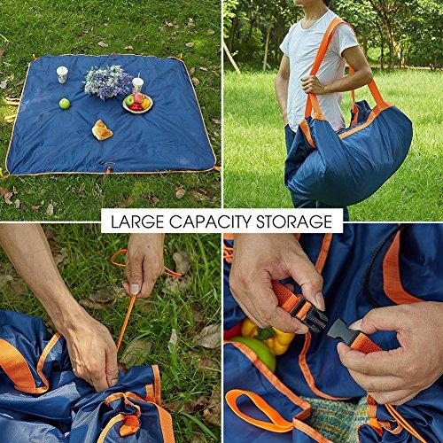 Faltbare Picknickmatte Picknick Decke Reisetasche Strandmatte Tasche Wasserdichter Teppich von QIMAOO für Outdoor Schwimmbad Ausflug Picknick 146 x 146 cm