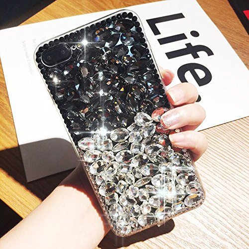 Cover iPhone 8,Cover iPhone 7,Custodia iPhone 8 / iPhone 7 Cover,ikasus® Handmade di lusso scintilla Bling Full Crystal strass diamanti custodia iPhone 8 / iPhone 7 Custodia Cover TPU + Hard PCparaurt Nero + Chiaro