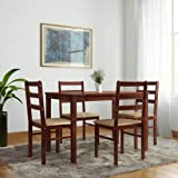 Woodness Winston Solid Wood Upholstered 4 Seater Basic Dining Table Set  Wenge