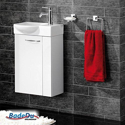 Fackelmann SCENO Badmöbel Set Gäste-WC Farbe Weiß/Weiß (3-teilig) - Waschbecken links mit Armatur